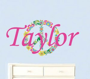 Kids initial monogram name with peace sign vinyl wall decal