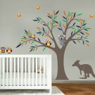 Kids tree vinyl wall decal with birds owls Koala bear and Kangaroo too cute