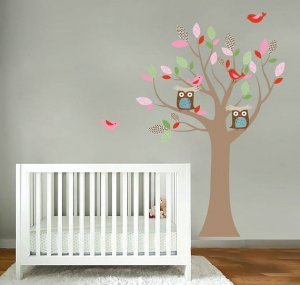 Kids nursery girl tree vinyl wall decal with birds owls and pattern leaves
