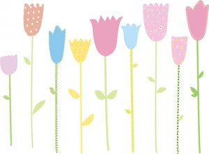 Kids tulip flowers set of 9 vinyl wall decal