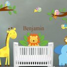 Kids removable vinyl wall decal Elephant Giraffe Monkey Lion Birds 2 tree branches and childs name