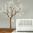 Cute Nursery tree with bird nest and bird cage with birds vinyl wall decal set