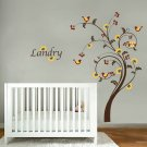 Kids swirl tree vinyl wall decal with birds flowers and Childs name letters