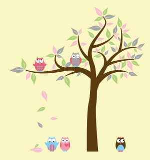 Kids Tree with 2 owls and set of 3 FREE vinyl wall decal