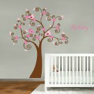 Kids vinyl wall decal Tree with flowers birds and FREE childs name