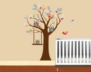 Kids tree vinyl wall decal with birds owls and swinging owl