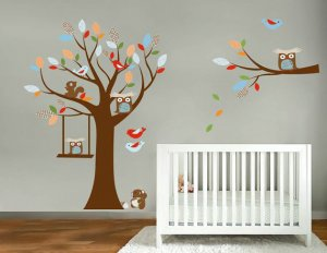 Kids tree and branch set vinyl wall decal with birds owls squirrel