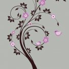 Kids swirl tree vinyl wall decal with birds flowers cute for any nursery
