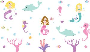 Kids under water world with mermaid fish starfish seahorse dolphins and bubbles