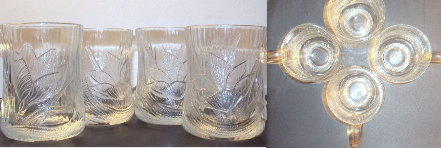 Glcoloc France set of (4) Glass Coffee Cup with Leaf Pattern