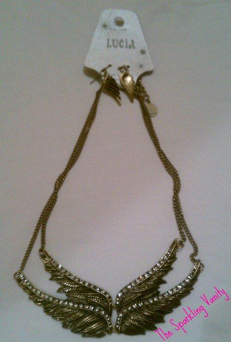 Vintage Rhinestone Feather Necklace