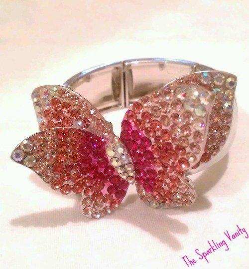 Pink Rhinestone Covered Butterfly Bracelet