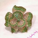 Green Rhinestone Flower Ring
