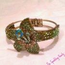 Green Rhinestone Flower Bracelet