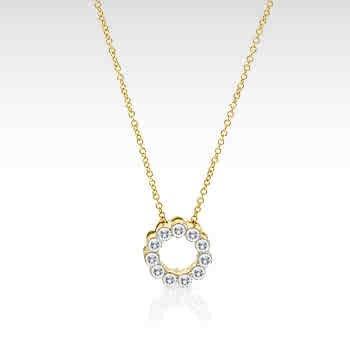 14k Gold Diamond Circle Flower Pendant Necklace (G/VS1-2, 1/2 ct. tw.)