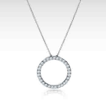 14k White Gold Diamond Circle of Life Pendant Necklace (1/2 ct. tw.)