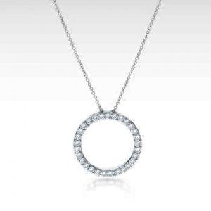 14k White Gold Diamond Circle of Life Pendant Necklace (1/2 ct. tw.)