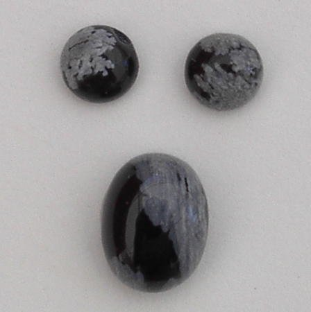 3 SNOWFLAKE OBSIDIAN CABOCHON GEMSTONES - FREE SHIPPING
