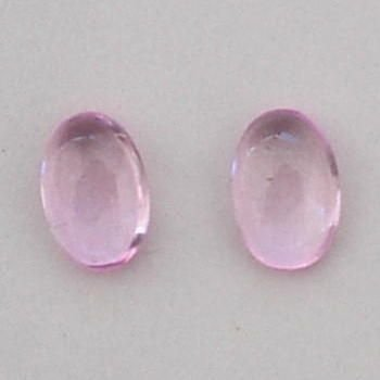 2 PINK TOURMALINE CABOCHON OVAL GEMSTONES 6x4mm - FREE SHIPPING