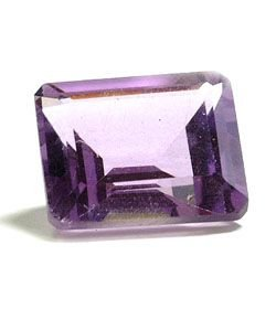 AMETHYST EMERALD CUT GEMSTONE 7x5mm - FREE SHIPPING