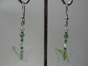 Sterling Silver Green Butterfly Glass / Crystal Earring - E161