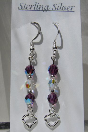 Sterling Silver Purple / Amethyst Crystal Earrings - E159