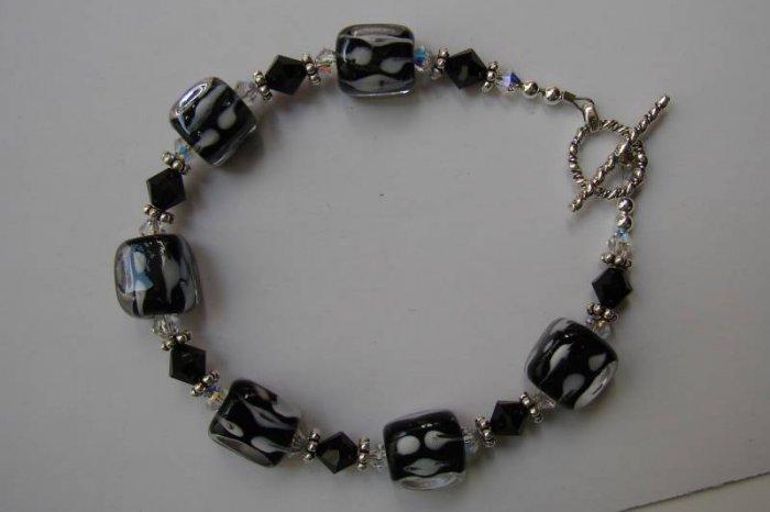 Sterling Silver Black Crystal Cube Bracelet  - B307