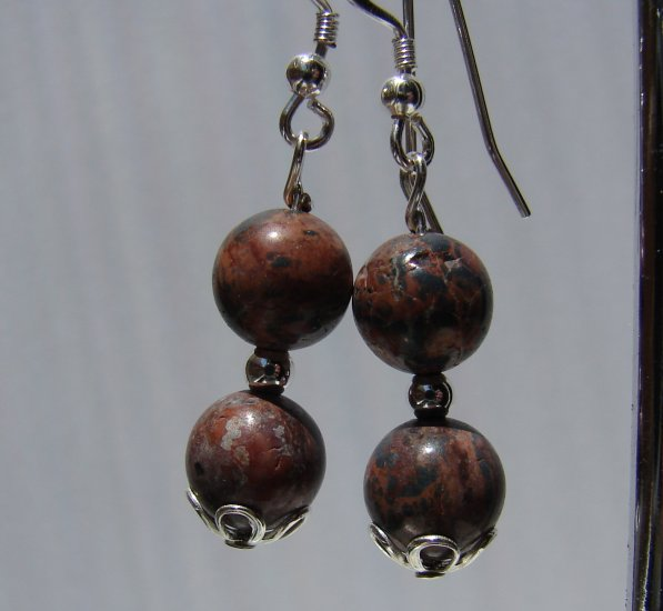 Sterling Silver Jasper Earrings - E156