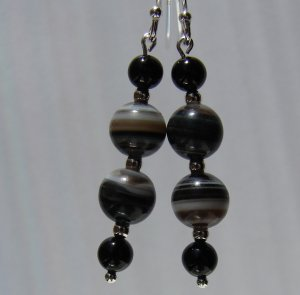 Sterling Silver Black Onyx Earrings -BK107
