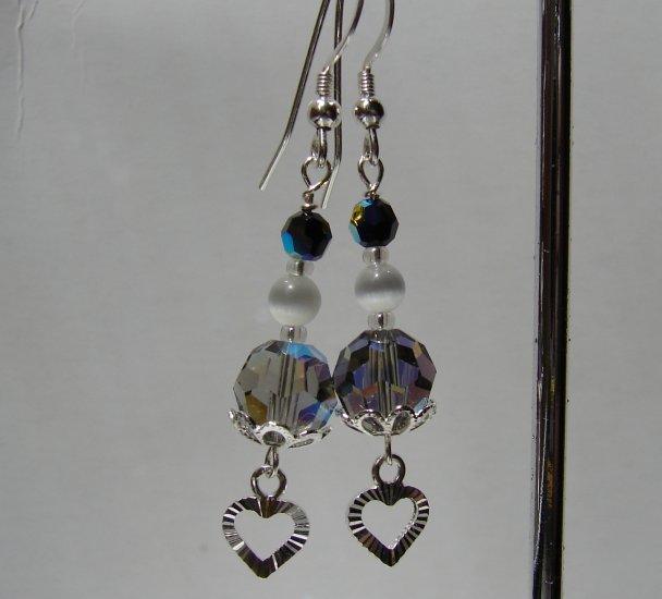 Sterling Silver Black Dangle Heart Earrings - BK109