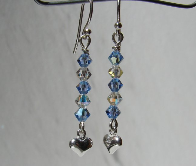 Sterling Silver Blue Crystal Heart Earrings - BL160