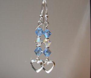 Sterling Silver Blue Crystal Heart Earrings - BL118