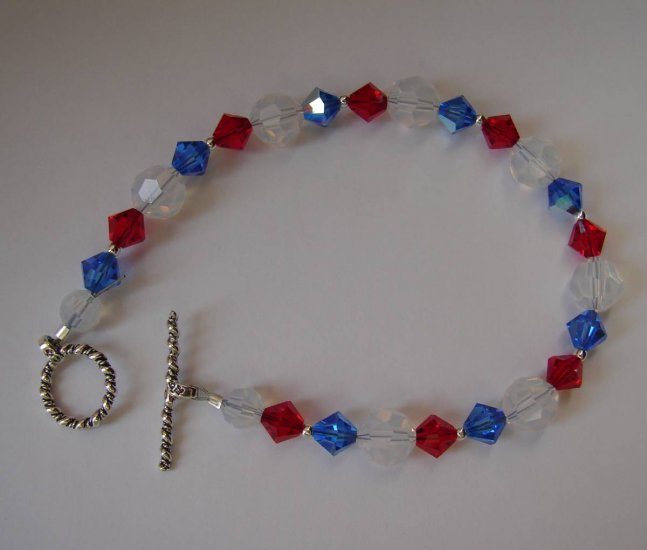Red, White and Blue Crystal Bracelet