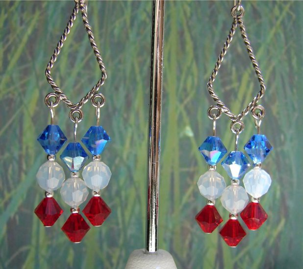 Sterling Silver Red, White and Blue Earrings H601