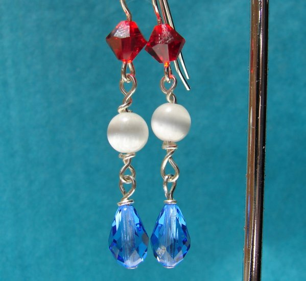 Sterling Silver Red White and Blue Dangle Earrings