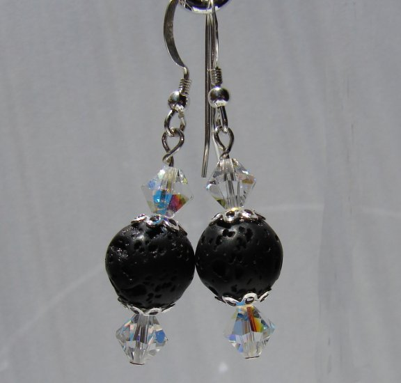 Unique Black Lava with Crystals Sterling Silver Earrings - E175