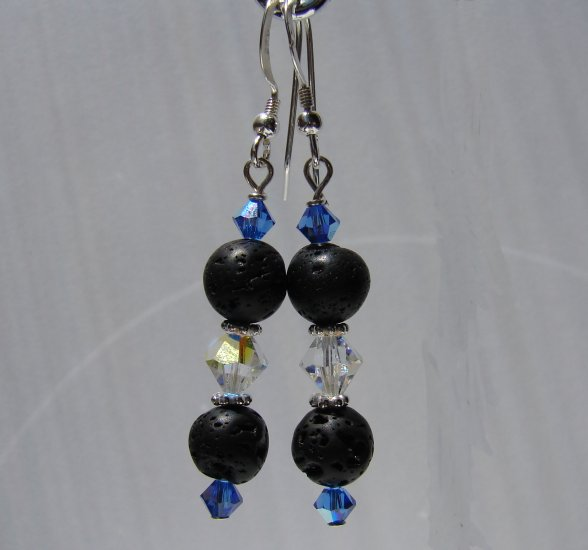 Unique Black Lava w/ Blue Crystals Sterling Silver Earrings - E174