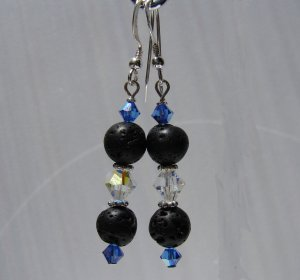 Unique Black Lava w/ Blue Crystals Sterling Silver Earrings - E174