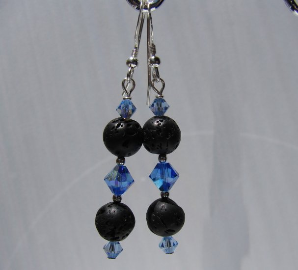 Unique Black Lava w/ Blue Crystals Sterling Silver Earrings - E173