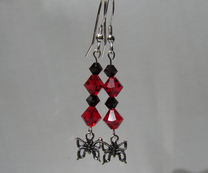 Sterling Silver Red Butterfly Earrings - R136