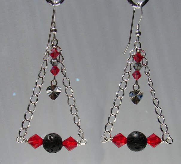 Unique Black LAVA w/ Red Crystals Sterling Silver Earrings - E171