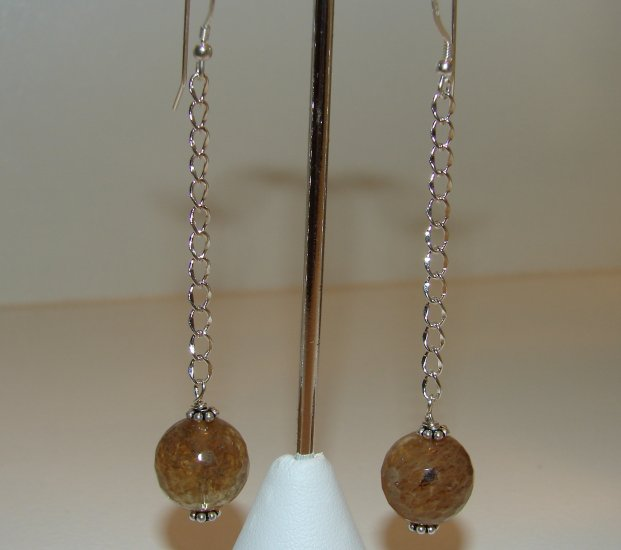 Sterling Silver Long Brown Quartz Dangle Earrings - E153