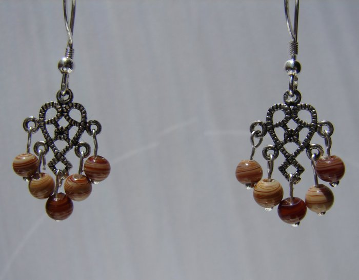 Sterling Silver Brown Swirl Lampwork Chandelier Earrings