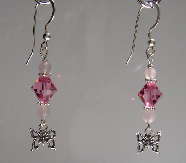 Sterling Silver Pink Quartz Butterfly Earrings - P125