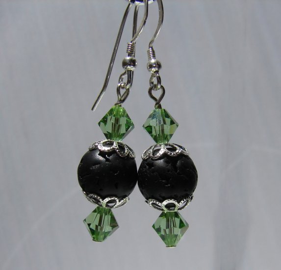Unique Black Lava with Green Crystals, Sterling Silver Earrings - E168