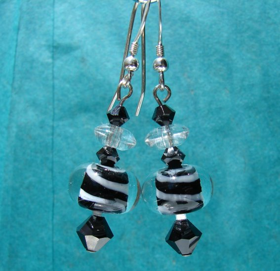 Glass Black w/ White Swirl Earrings with Swarovski Crystal Elements - BK106