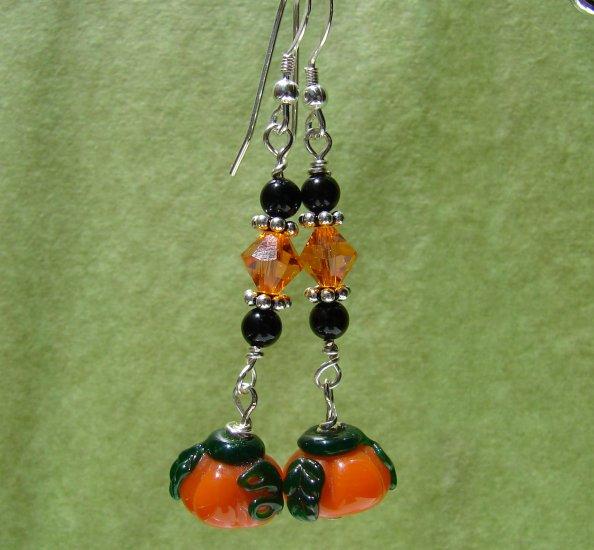 Lampwork Black & Orange Halloween Pumpkin Earrings - H607