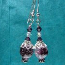 Sterling Silver Amethyst Glass Crackle Earrings - E170