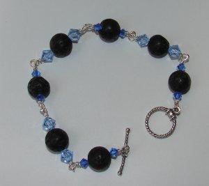 Blue Crystal and Black Lava Bracelet - B306