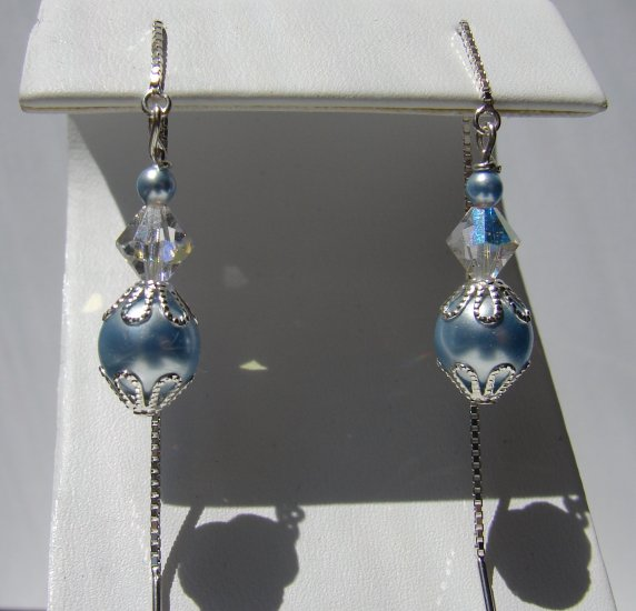 Sterling Silver Blue Glass Pearl Thread Earrings - BL115